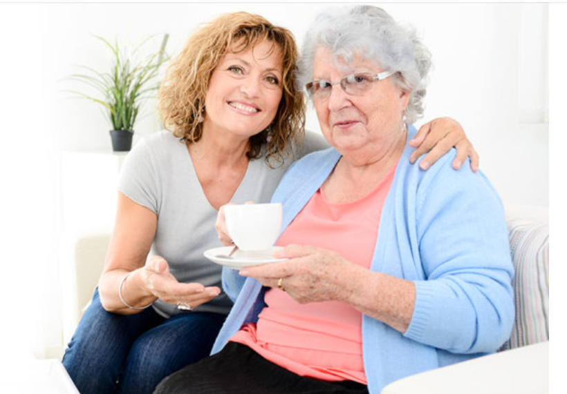 Woman caring for her mother and planning